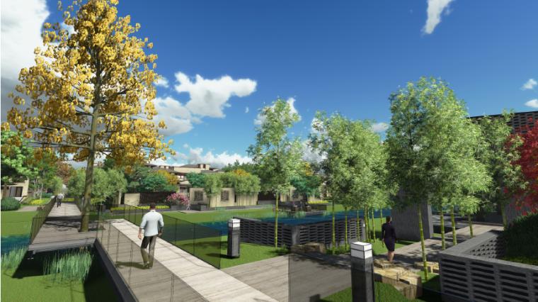 [上海]新中式住宅样板区景观设计方案-样板区空间效果图