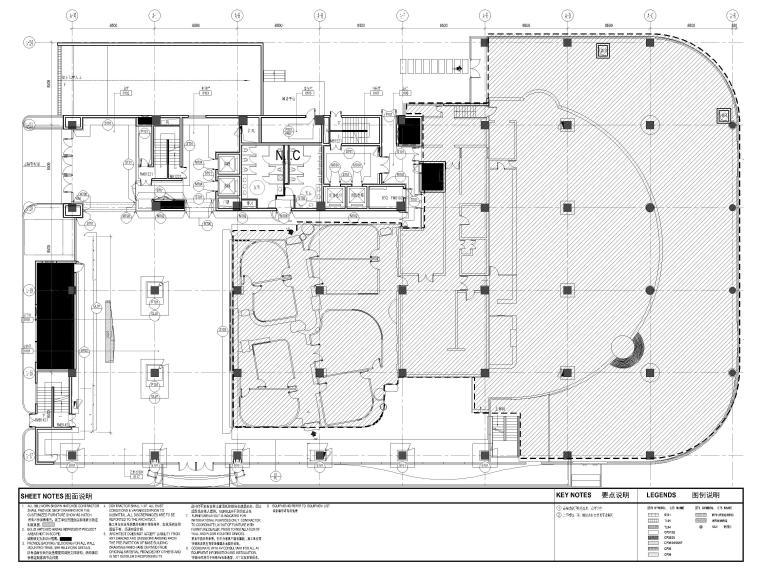 [上海]山鹰国际七层办公空间室内装修施工图-1层墙面终饰材料平面图
