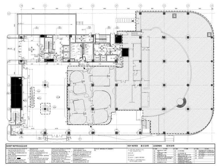 [上海]山鹰国际七层办公空间室内装修施工图-1层隔墙平面图