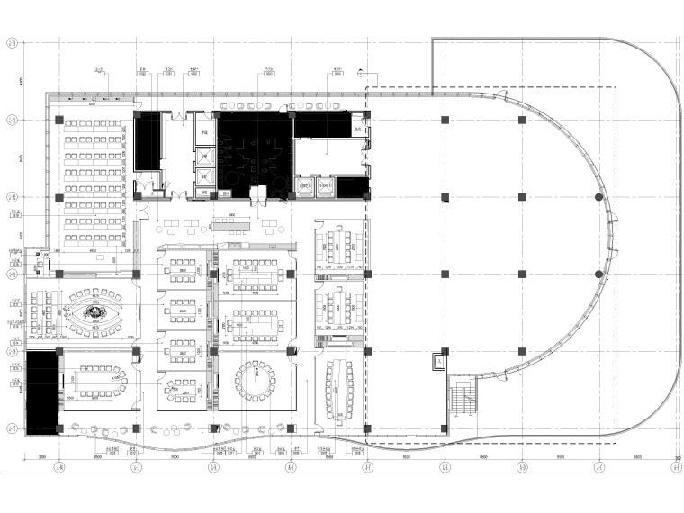 [上海]山鹰国际七层办公空间室内装修施工图-3层家具平面图