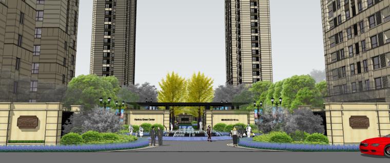[湖北]武汉生态休闲花园居住区景观方案-入口礼仪花园效果图