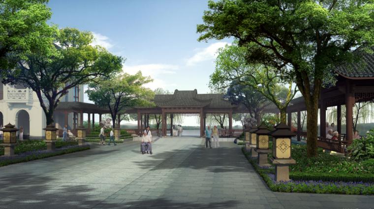 [浙江]乌镇社区文化中心老年公寓景观方案-效果图1
