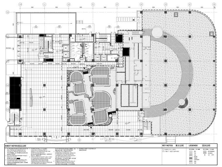 [上海]山鹰国际七层办公空间室内装修施工图-1层地坪终饰材料平面图