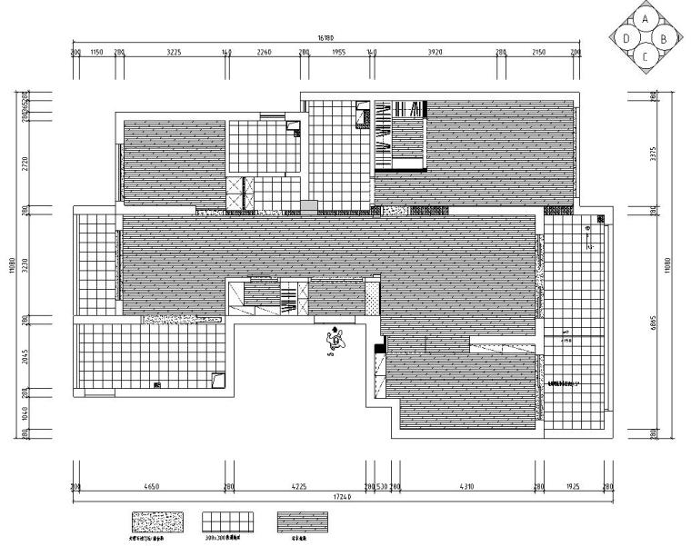 现代风格140㎡三居室住宅装修施工图设计-地面布置图