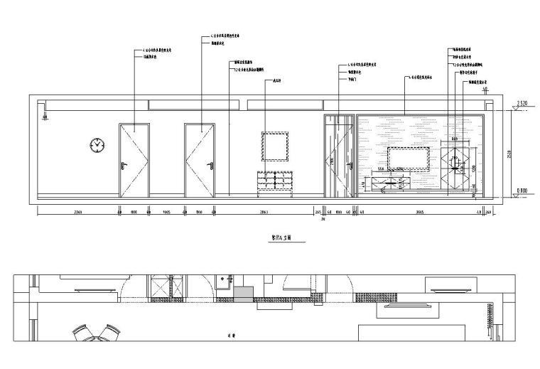现代风格140㎡三居室住宅装修施工图设计-立面图
