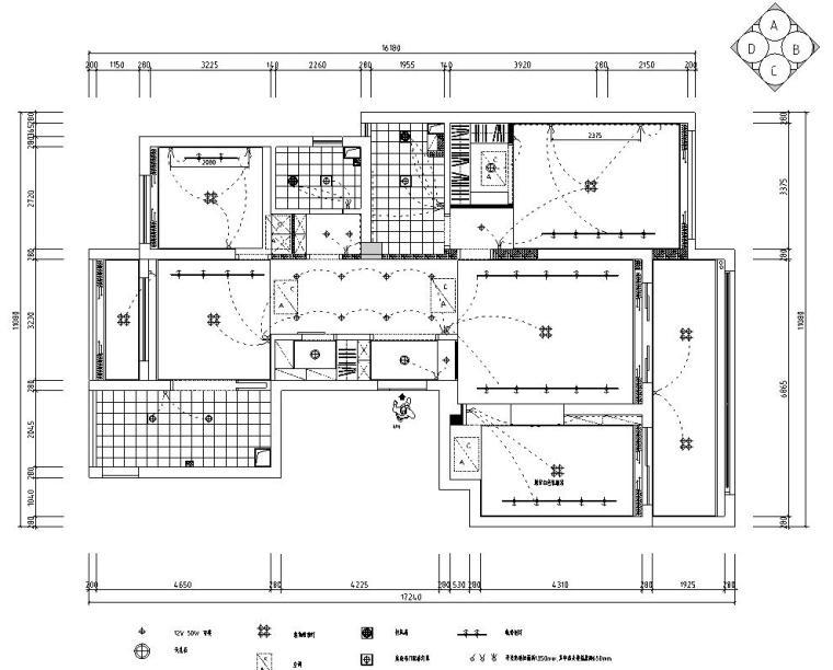 现代风格140㎡三居室住宅装修施工图设计-开关布置图
