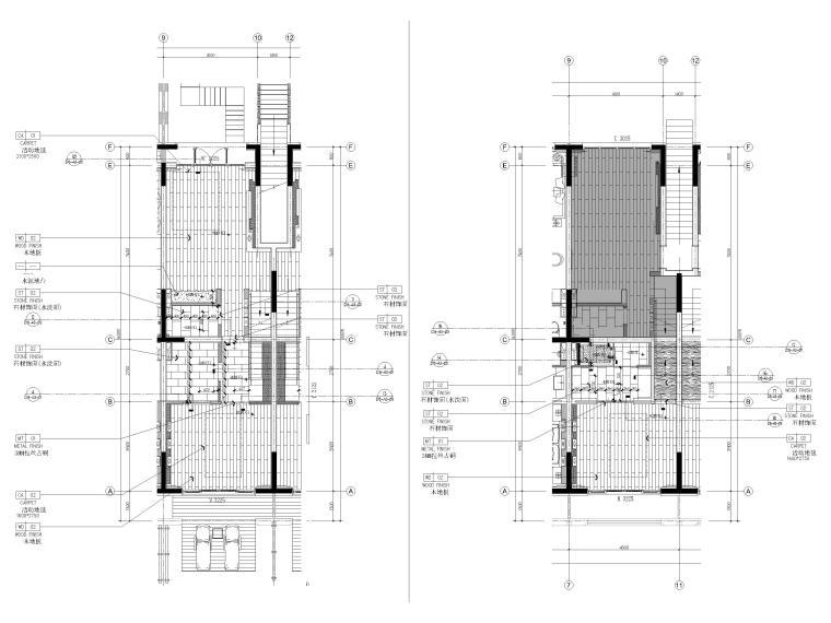 [丽江]复华度假世界96㎡二居叠拼别墅施工图-叠拼户型1~2层地面铺装图