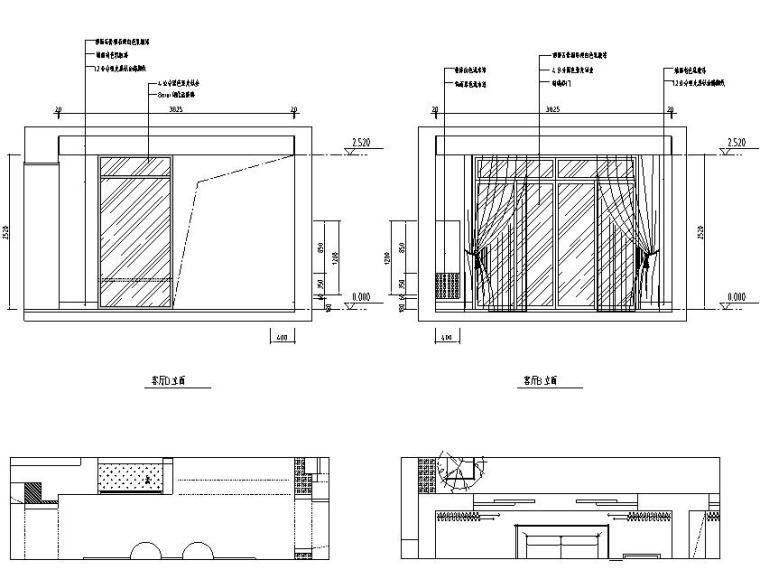 现代风格140㎡三居室住宅装修施工图设计-立面图2