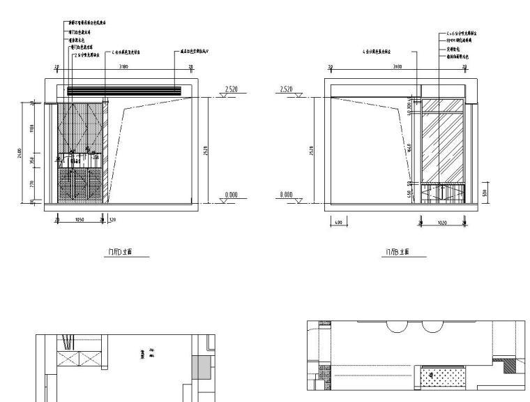 现代风格140㎡三居室住宅装修施工图设计-立面图3