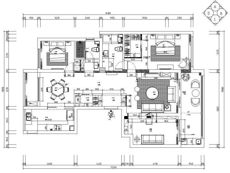 现代风格140㎡三居室住宅装修施工图设计-平面尺寸图