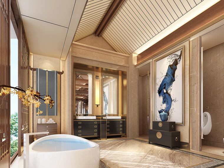 成都新中式别墅四合院3D模型+CAD平面图-D卫生间