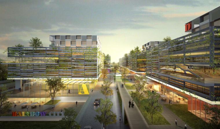上海虹桥航空产业园生态建筑街区及景观规划-南侧入口效果图
