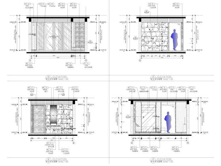 [丽江]复华度假世界96㎡二居叠拼别墅施工图-一层立面图2