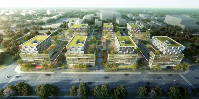 上海虹桥航空产业园生态建筑街区及景观规划-鸟瞰图