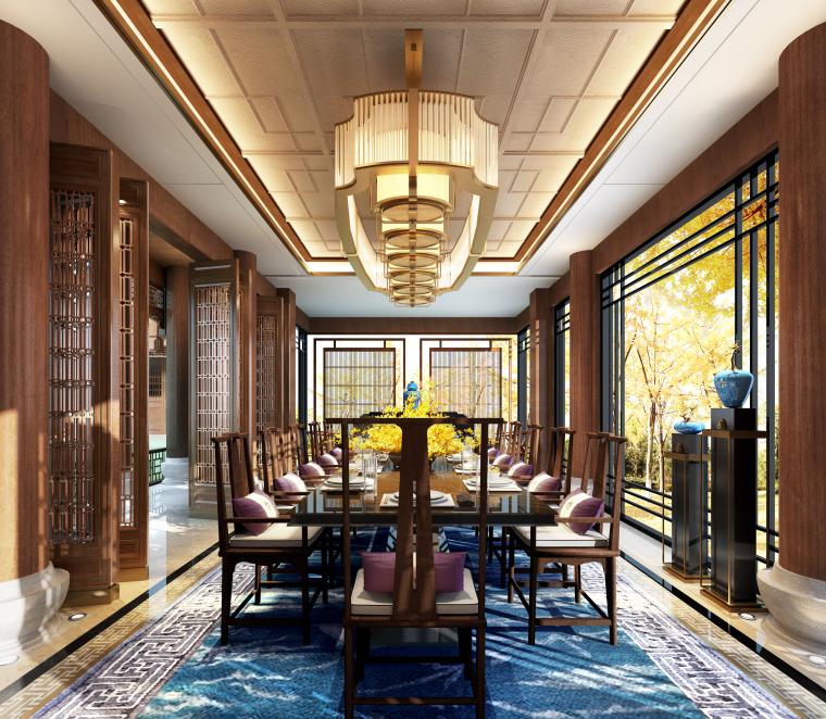 成都新中式别墅四合院3D模型+CAD平面图-餐厅