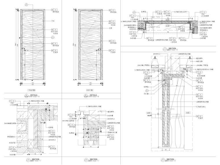 [丽江]复华度假世界96㎡二居叠拼别墅施工图-门表节点详图