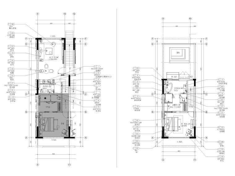 [丽江]复华度假世界60㎡叠拼别墅装修施工图-叠拼2~3层平面布置图