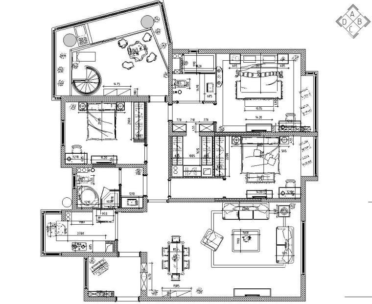 欧式风格三居室住宅装修施工图设计-01 平面布置图