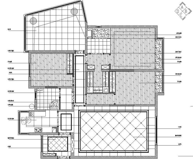 欧式风格三居室住宅装修施工图设计-地面铺贴示意图