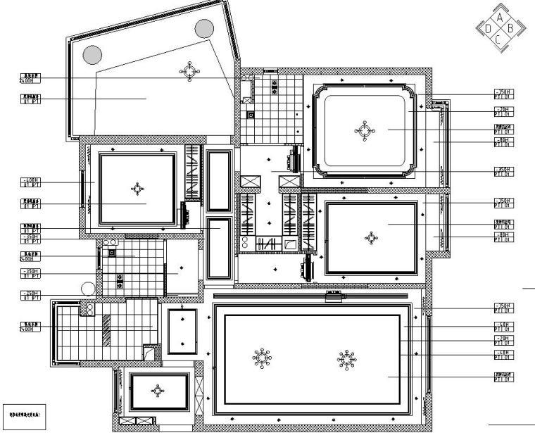 欧式风格三居室住宅装修施工图设计-顶棚布置图