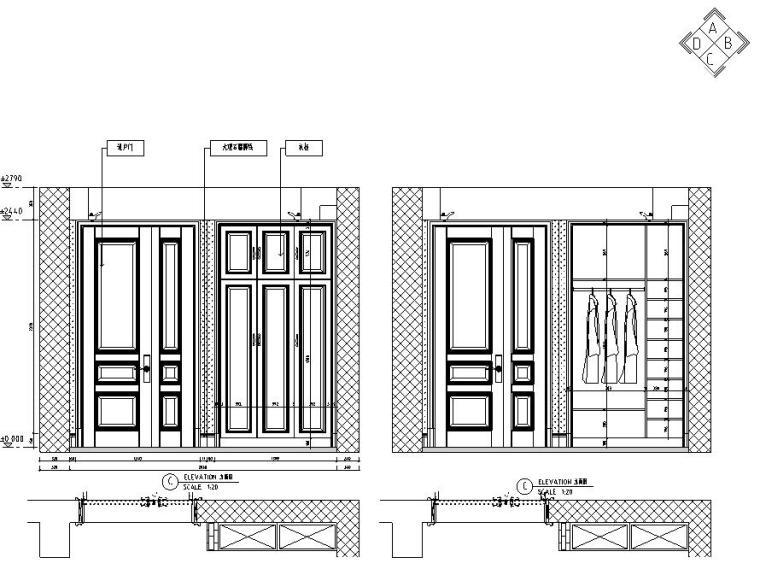 欧式风格三居室住宅装修施工图设计-立面图1