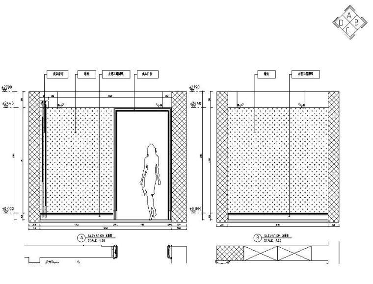 欧式风格三居室住宅装修施工图设计-立面图