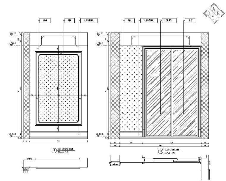 欧式风格三居室住宅装修施工图设计-立面图3