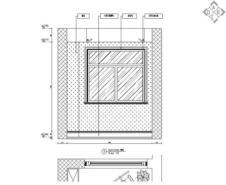 欧式风格三居室住宅装修施工图设计-立面图2