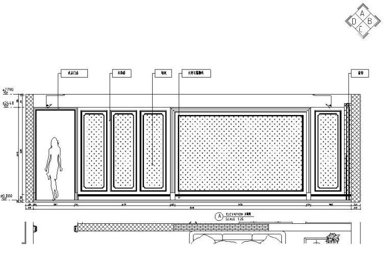 欧式风格三居室住宅装修施工图设计-立面图4