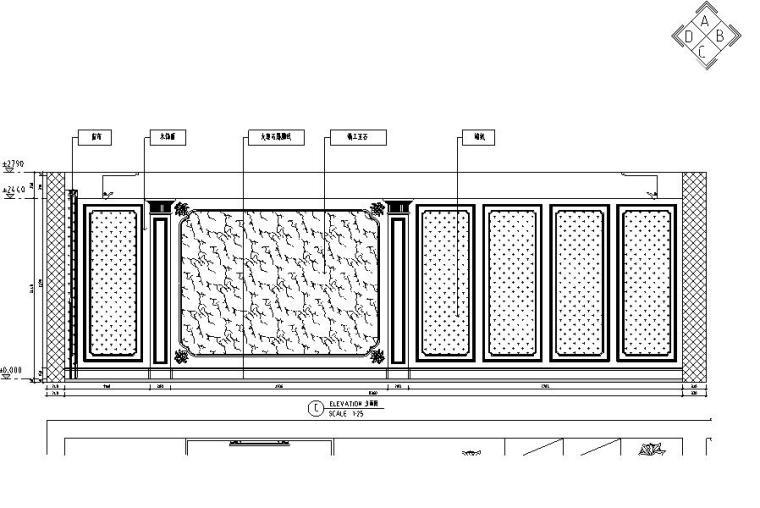 欧式风格三居室住宅装修施工图设计-立面图5