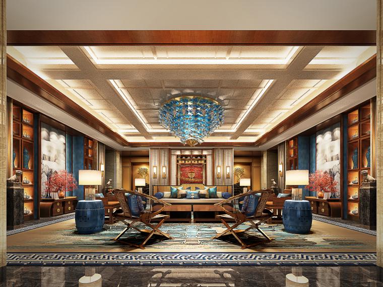 成都新中式别墅四合院3D模型+CAD平面图-会客厅大图