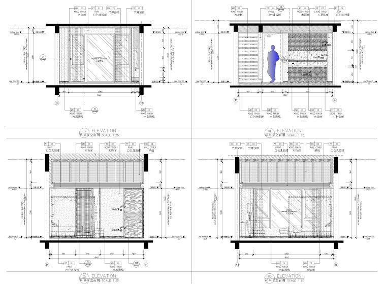 [丽江]复华度假世界60㎡叠拼别墅装修施工图-二层立面图