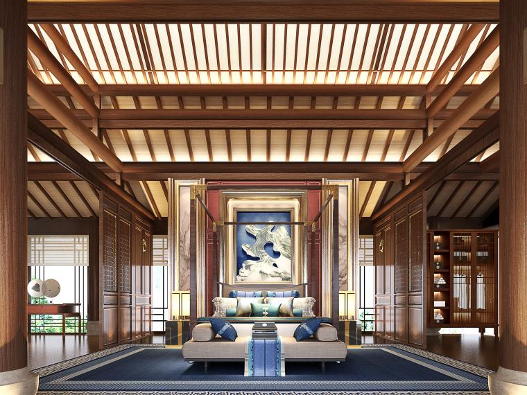 成都新中式别墅四合院3D模型+CAD平面图-主人房角度01