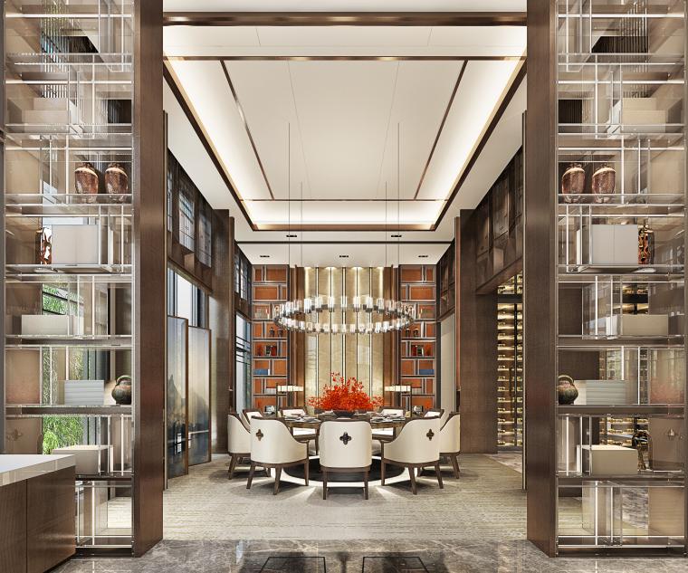 成都新中式别墅四合院3D模型+CAD平面图-C户型餐厅角度二