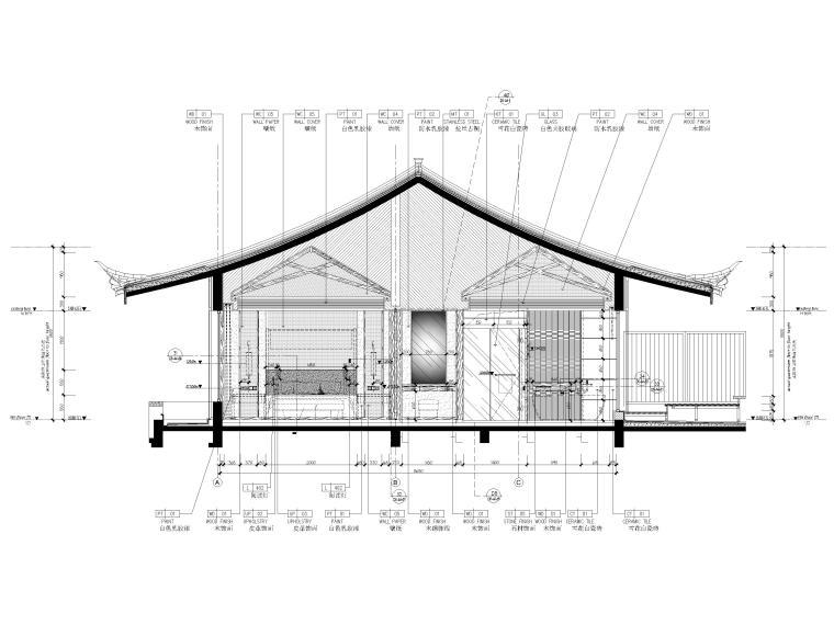 [丽江]复华度假世界60㎡叠拼别墅装修施工图-三层立面图