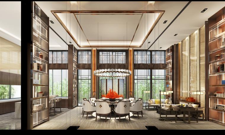 成都新中式别墅四合院3D模型+CAD平面图-C户型餐厅角度一