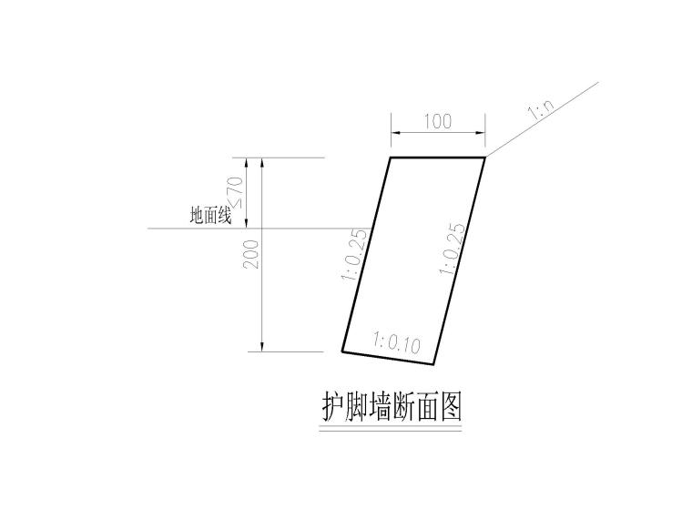 [重庆]城市次干道高边坡挡墙施工设计图-03护脚墙大样图-模型