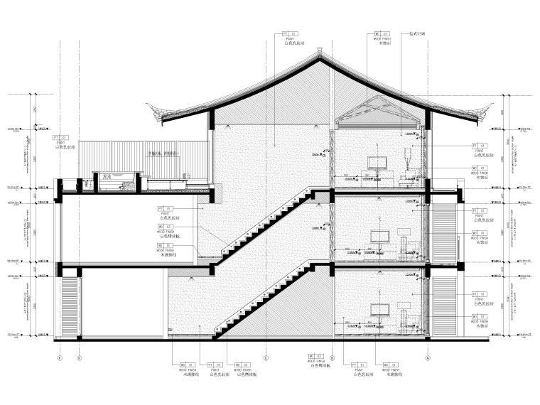 [丽江]复华度假世界60㎡叠拼别墅装修施工图-二~三层楼梯立面图