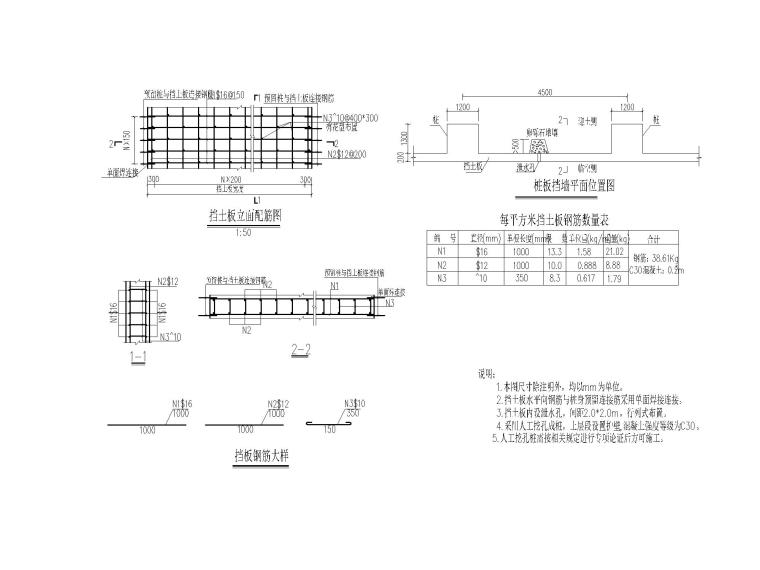 [重庆]城市次干道高边坡挡墙施工设计图-型桩板挡墙钢筋构造图-布局1