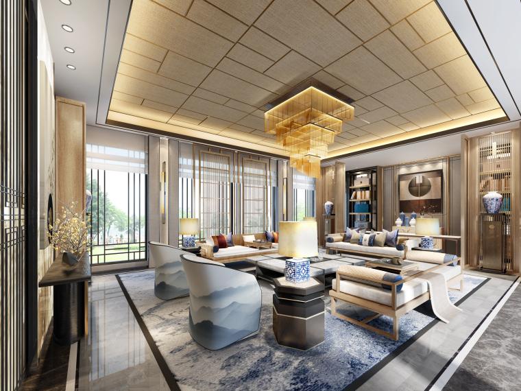 成都新中式别墅四合院3D模型+CAD平面图-C户型客厅角度二