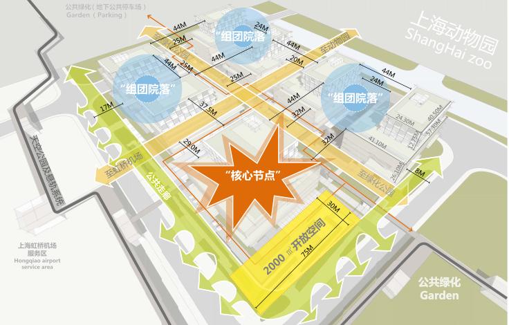 上海虹桥航空产业园生态建筑街区及景观规划-公共空间组织