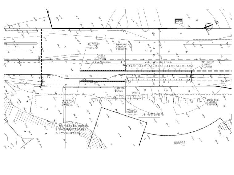 [重庆]城市次干道高边坡挡墙施工设计图-支挡结构平面布置图