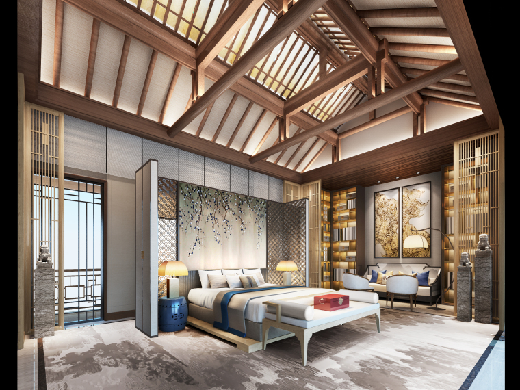 成都新中式别墅四合院3D模型+CAD平面图-C户型主卧大图