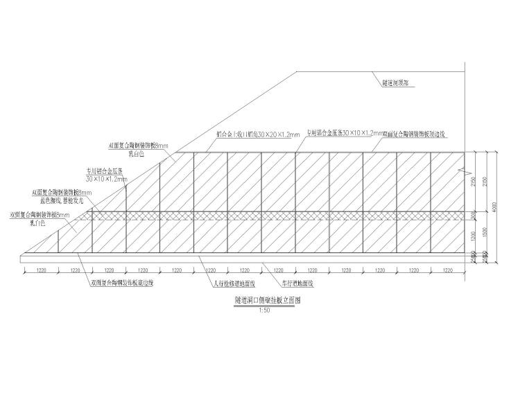 [重庆]城市隧道容貌整治施工设计图-侧壁挂板立面图