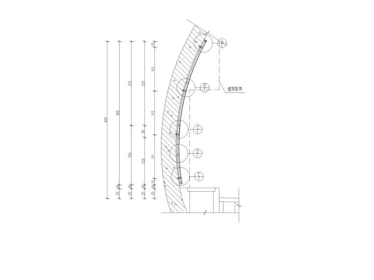 [重庆]城市隧道容貌整治施工设计图-隧道挂板剖面图模型