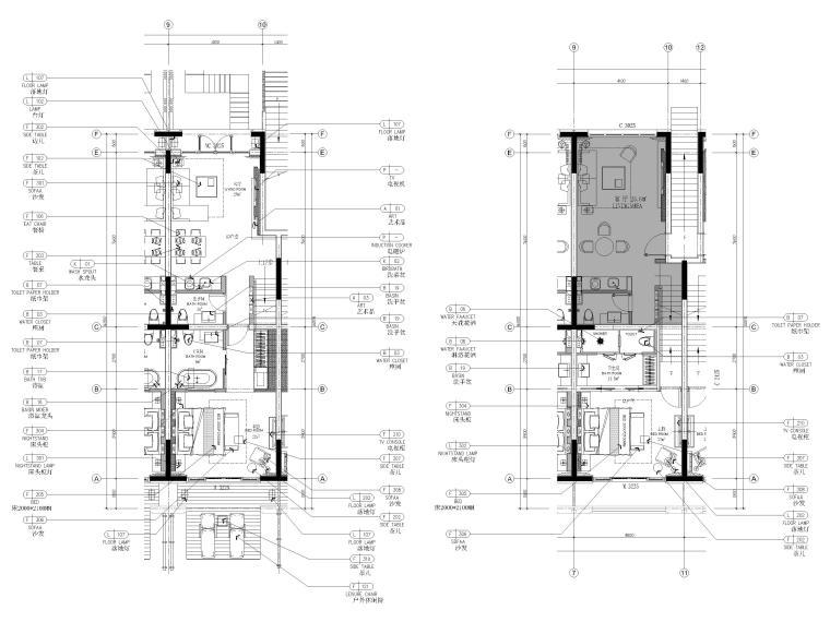[丽江]复华度假世界96㎡二居叠拼别墅施工图-叠拼户型1~2层平面布置图