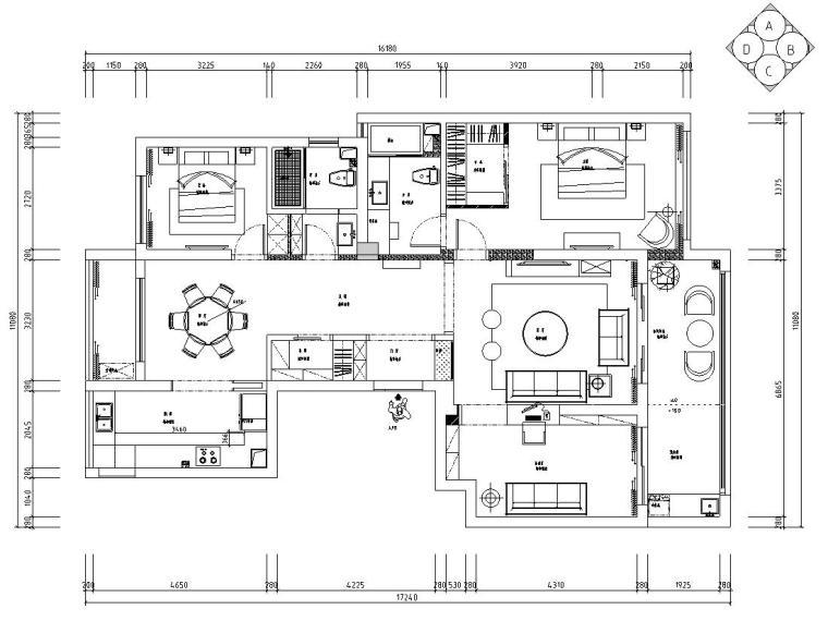 现代风格140㎡三居室住宅装修施工图设计-01 平面布置图