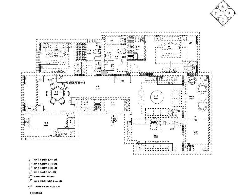 现代风格140㎡三居室住宅装修施工图设计-插座布置图