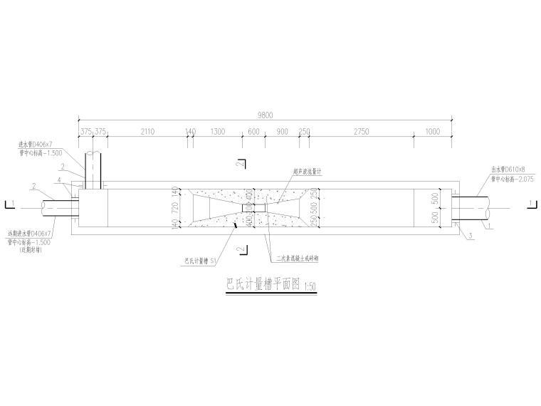 [信阳]钢筋混凝土结构巴氏计量槽施工图2016-巴氏计量槽给排水平面图