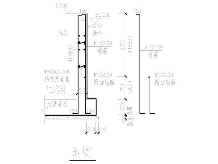 [信阳]钢筋混凝土结构巴氏计量槽施工图2016-池壁配筋图